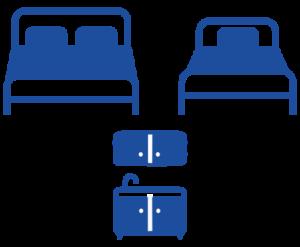 1 cama full + 1 twin + 1 kitchenett (máximo 3 personas)